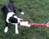 Real sheepskin/fleece dog tug toy