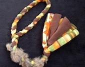 Fleece/real rabbit fur dog tug toy, earth tone colors