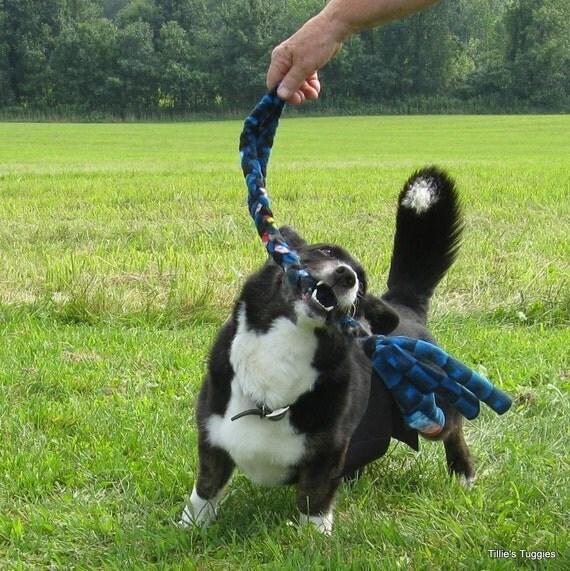 Make Dog Tug Toy: Small Real Rabbit Fur/fleece Dog Tug Toy