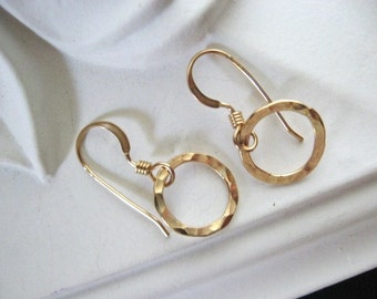 Hammered Circle Earrings, Gold Earrings, 14K Gold Fill Earrings, Simple Earrings, Everyday Jewelry