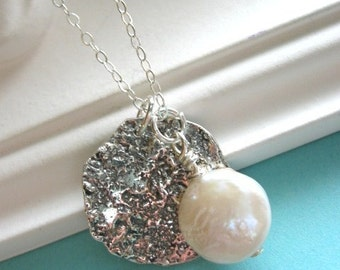Moon Necklace, Moon Pendant, Pearl Moon Pendant, STERLING SILVER, Moon Jewelry, Coin Pearl, Pearl Necklace