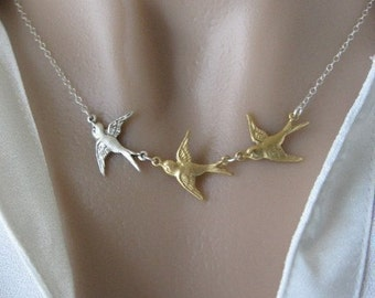 Swallow Necklace, Silver and Gold Necklace, Swallow Jewelry, Natural Jewelry, Sparrow Necklace