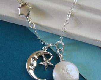 Moon and Star Necklace, Pearl Necklace, Full Moon, Man in the Moon, Celestial Jewelry, Moon Jewelry, Sterling Silver Necklace