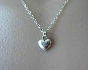 Heart Neckace, Sterling Silver Necklace, Tiny Heart, Dainty Necklace, Everyday Necklace, Silver Heart Necklace, Child Necklace