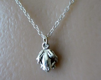 Frog Charm Necklace, Frog Jewelry, Child Necklace, STERLING SILVER, Good Luck Frog, Frogs, Charm Necklace