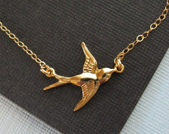 Gold Swallow Necklace, Sparrow Necklace, Gold Choker, All 14K Gold-Filled, Gold Jewelry, Natural Jewelry