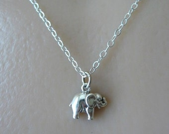 Tiny Elephant Necklace, Elephant Jewelry, Good Luck Elephant, Sterling Silver Necklace, Child Necklace, Elephant Pendant, Elephant Pendant