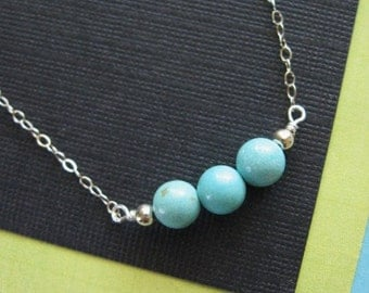 Small Turquoise Bead Necklace in STERLING SILVER