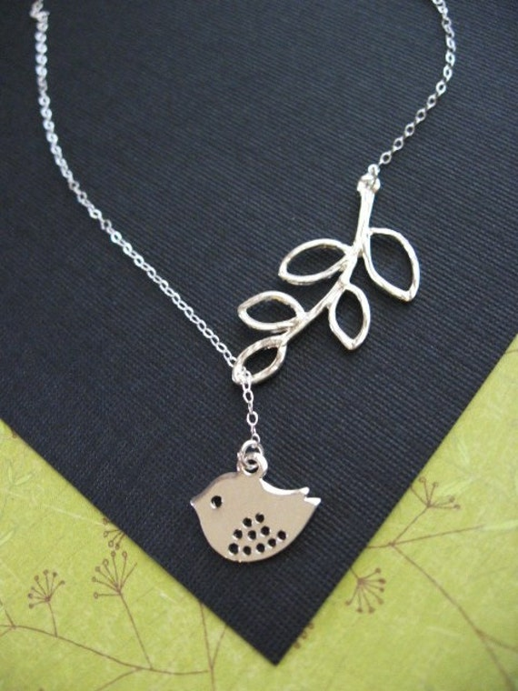 Spotted Sparrow and Branch Necklace STERLING CHAIN