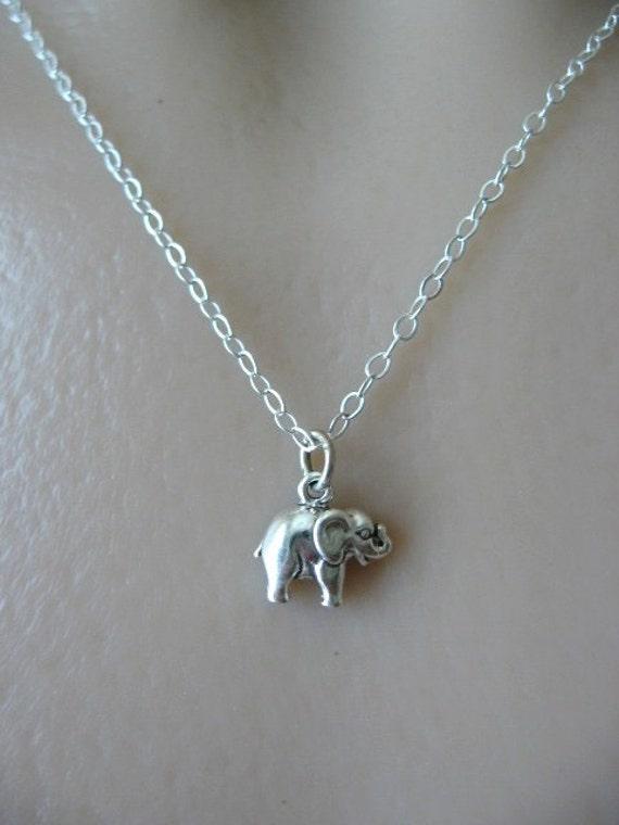 tiny elephant necklace elephant jewelry luck elephant