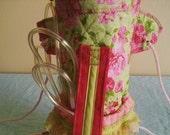 On sale - Pink and green beaded - oxygen tank cover bag backback style