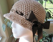 Cotton Womens Hat, Cloche Hat with Bow, Taupe, Brown Ribbon, Beach, Sun Hats, Weddings, Sun Hats, Vacation, Gifts - JE34