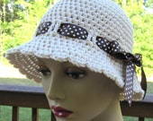 Oatmeal Off White Cotton Adult Cloche, Brown Satin Polka Dot Ribbon Bow, Beach, Summer Hat, Sun Hat, Weddings, Gifts JE252CALL