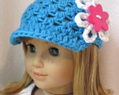 SALE Hot Blue Beanie, Brim, Newsboy,  American Girl Doll, White, Pink Flower Button, Gifts, Birthday Gifts, Photo Prop - JE219AGDBP1