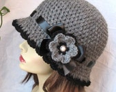 Womens Hat Charcoal Gray Crochet Cloche, Black Ribbon, Flower, Winter, Brim, Woman gift, Birthday Gifts for her, Weddings JE270CRF8