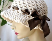 Cotton Women Cloche, Brown Satin Ribbon Bow, Oatmeal Off White, Birthday Gifts, Chemo Hat, Sun Hat, Beach, Weddings, Showers, JE156CALL