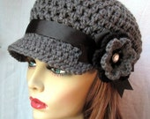 Charcoal Gray Teens Womens Hat, Newsboy, Black, Pearl Button, Flower, Ribbon, Jewelry, Wedding, Birthday Gifts, Handmade, JE270ANRFALL2