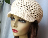 SALE Womens Hat, Adult Newsboy, Off White, Natural, Chemo Hat, City Hats, Mothers Day Gifts, Gifts for Her, Birthday Gifts, JE144N