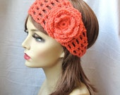 SALE Coral Crochet Headband, Rose Flower, Gifts for her, Photo Prop, Birthday Gifts, Handmade HBJE114F2