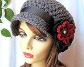 Gray Teens Womens Hat, Slouchy Newsboy, Black, Red, Pearl, Flower, Ribbon, Wedding Gifts, Birthday Gifts, Photo Prop,JE270NRFSL2