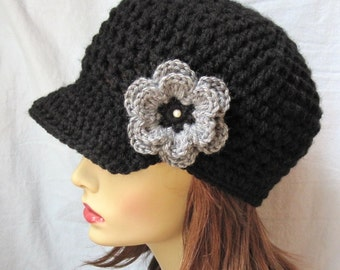 SALE Crochet Womens Hat, Teens Newsboy, Black, Gray Flower, Chemo Hat, Pearl, Jewelry, Weddings, Birthday Gifts, Photo Prop, JE148NML