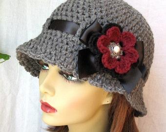 Womens Hat Charcoal Grey Cloche, Black Ribbon, Bow, Removable Flower Pin. Birthday Gifts, Weddings, Bridesmaids, Handmade, JE270CRFALL9