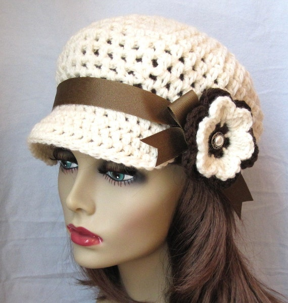 Crochet Newsboy Womens Hat, Teens Girls, Off White, Natural, Brown Ribbon, Flower, Gifts for Teens, Birthday Gifts for Her JE144NFRALL1