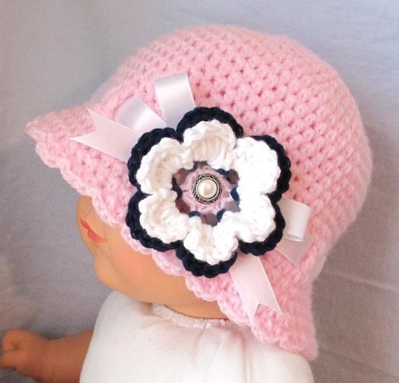 Spring Summer Hat Pink Baby Hat, Girls Cloche, Ribbon, Navy, Christening, Newborn, Baby Gifts, Sun Hat, Photo Prop, Flower Girl JE375CFR1
