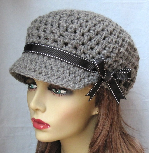 Crochet Newsboy Hat : Crochet Newsboy Gray Teens Womens Hat, Black Ribbon, Chemo Hat ...