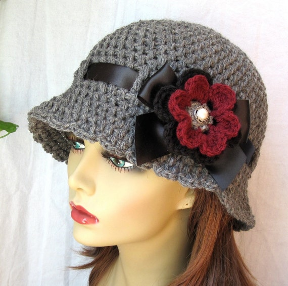 Womens Hat Charcoal Grey Cloche, Black Ribbon, Bow, Removable Flower Pin. Birthday Gifts, Weddings, Bridesmaids, Handmade, JE270CRFALL9