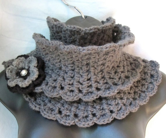 Crochet Scarf, Charcoal Grey Womens, Gifts for Her, Birthday Gifts, Valentines gifts, Handmade, SJE28