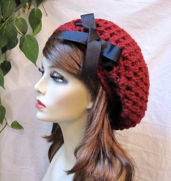 Valentine's hat, Red Woman Hat, Beret, Slouchy, Black Ribbon, Chunky, Warm, Teens, Winter, City Hat, Birthday Gifts, Gifts for Her, JE467BTR