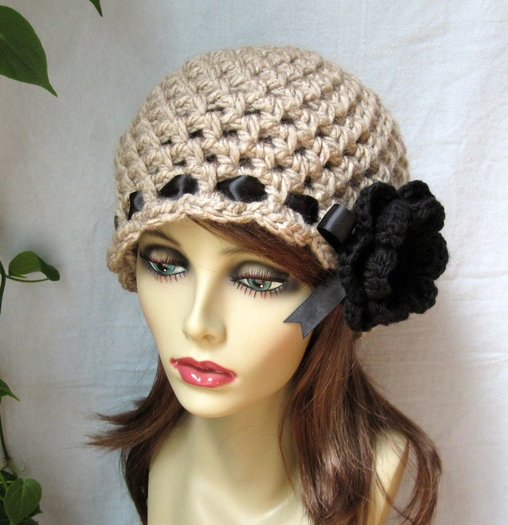 sale taupe womens hat crochet beanie black by jadeexpressions