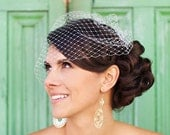 modern classic birdcage veil with express shipping
