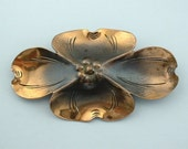Large Vintage STUART NYE Handmade Copper Dogwood BROOCH