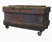Antique Machine Age Wooden Farmhouse Chest Strongbox