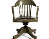 Antique Deco Wooden Chair, Swivel Office Desk Chair