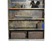 Vintage Industrial Metal Shelving Case, Steel Storage Book Shelf