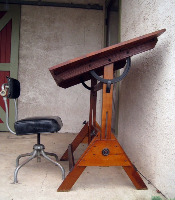 Antique Industrial 1900's Turn of the Century Drafting Table with Original Cast Iron Hardware