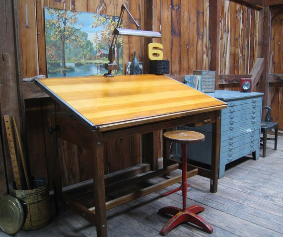Vintage Industrial Oak Hamilton Drafting Table