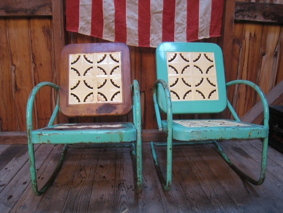 Vintage 1950s metal lawn porch glider patio chairs Metal patio furniture vintage