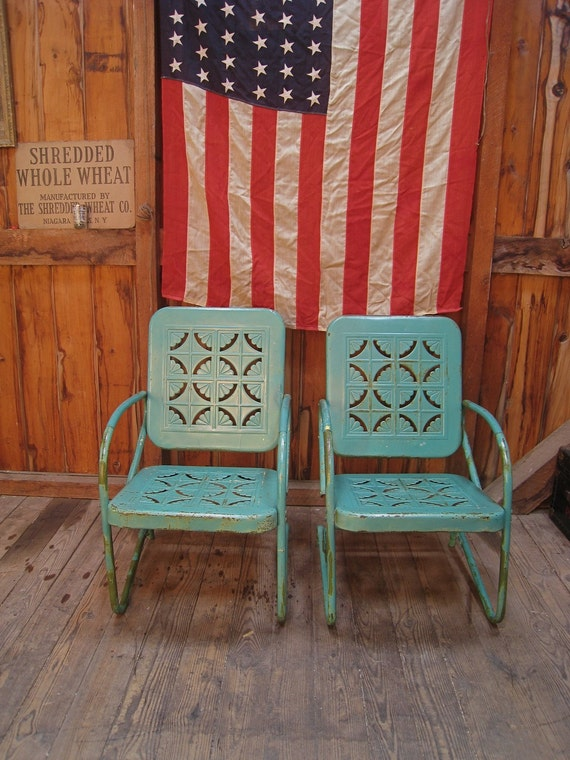 Vintage 1950s turquoise metal lawn porch chairs for 1950s metal patio chairs