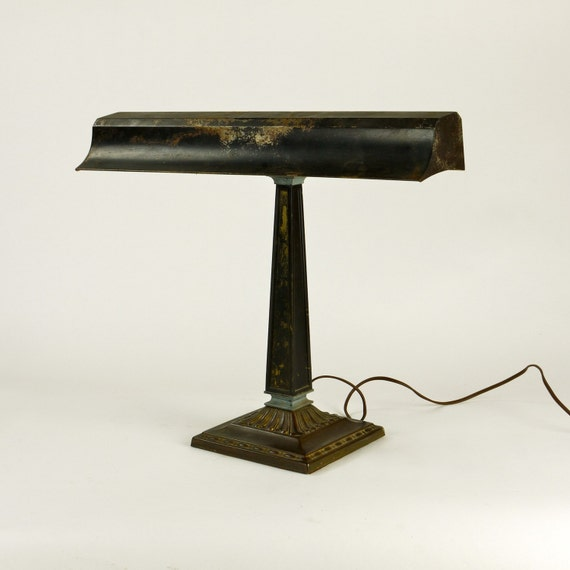 Library Lamp, Antique Art Deco Table Reading Light
