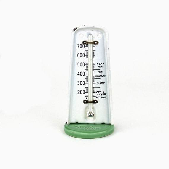 Vintage Kitchen Thermometer, 1940's Taylor Porcelain & Enamel Thermometer