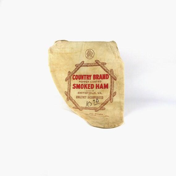 Butcher Sack, Vintage Smoked Virginia Ham Linen Bag