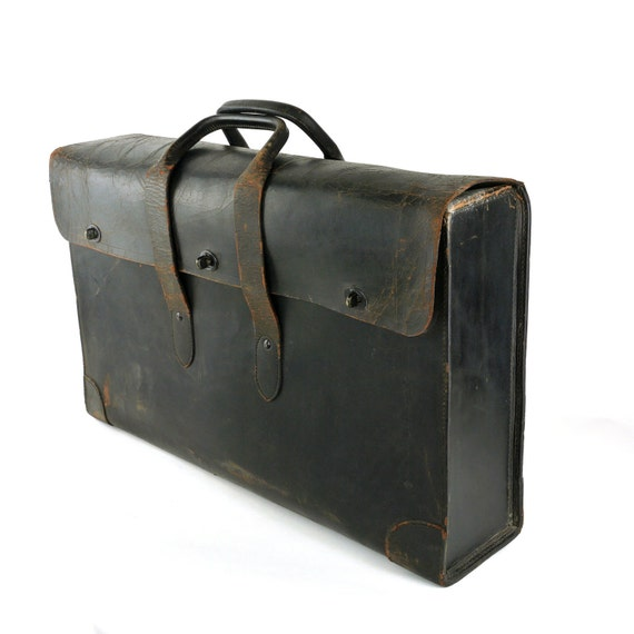 Vintage Leather Architect Artist Document Attache Bag