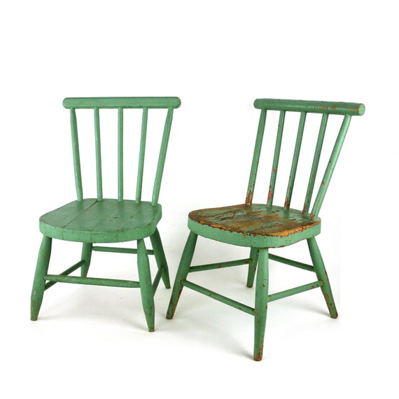 Vintage wooden children s spindle back farmhouse chairs