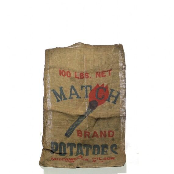 Potato Sack, Vintage Match Brand Burlap Bag