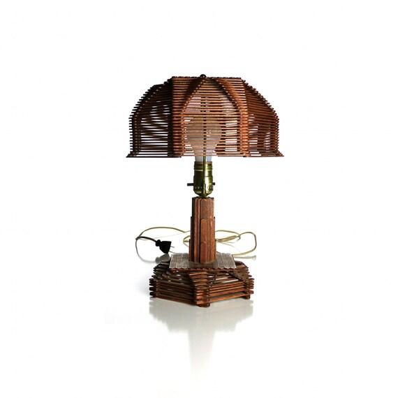 Vintage Prison Art Lamp, Popsicle Stick Jailhouse Table Light
