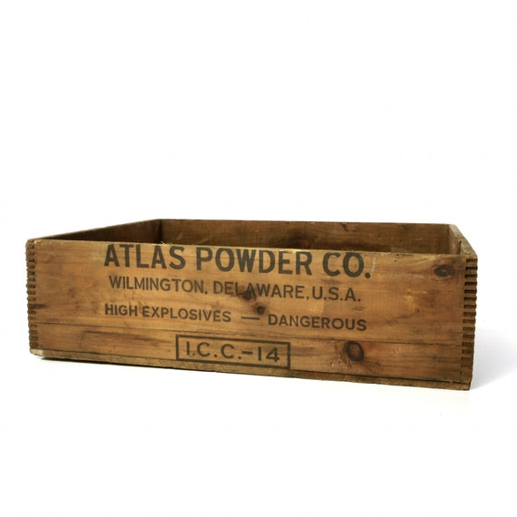 Vintage Atlas Powder Co. Ammo Box, Wooden Crate